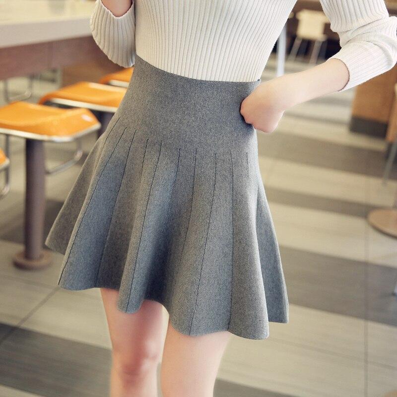 women new fashion Autumn winter knitted short skirt female high waist puff skirt pleated basic a-line Mini skirt Solid color