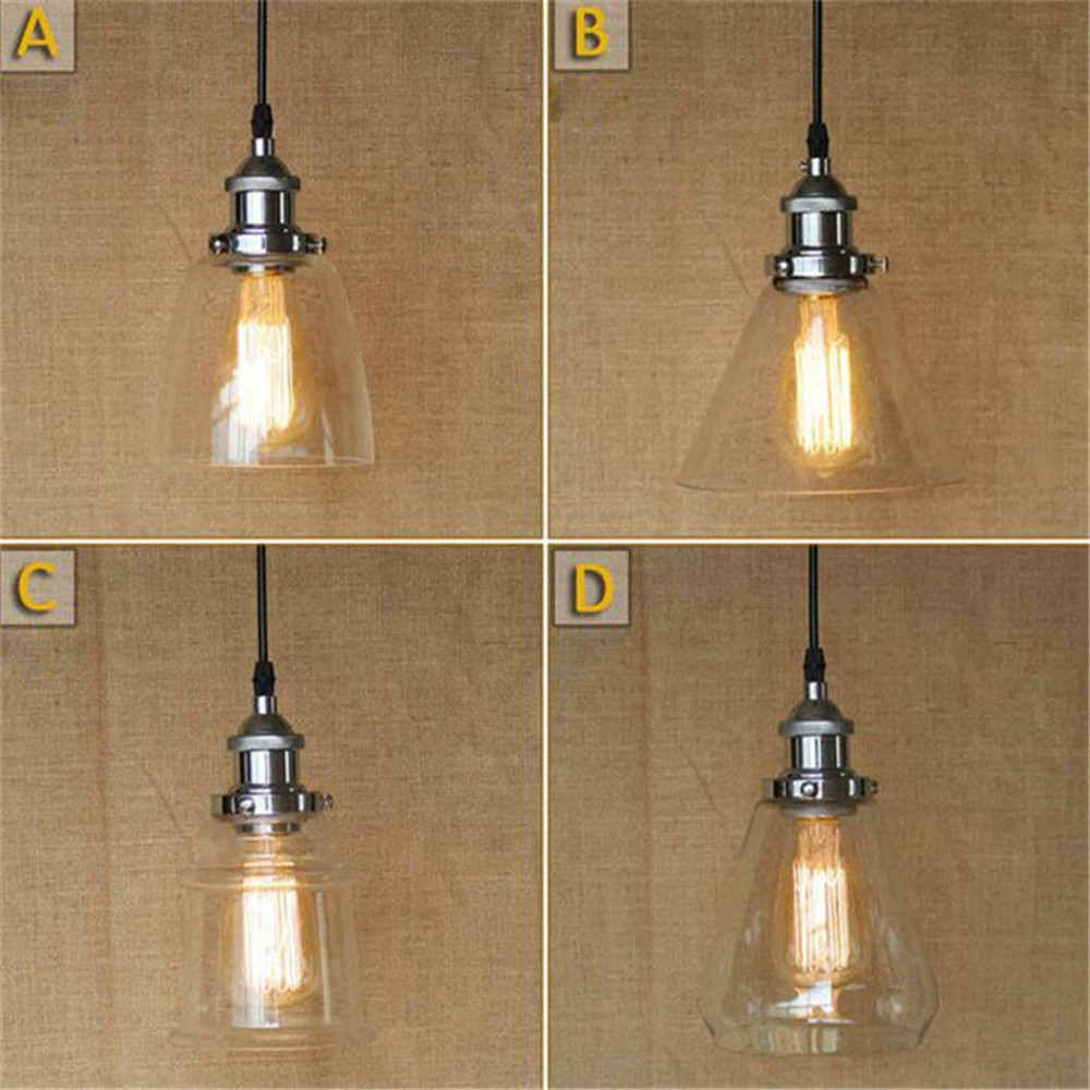 American country Edison bulb included pendent lamp silver chrome clear glass shade pendant hanging lights lamp bar restaurant american country industrial glass pot pendent lamp