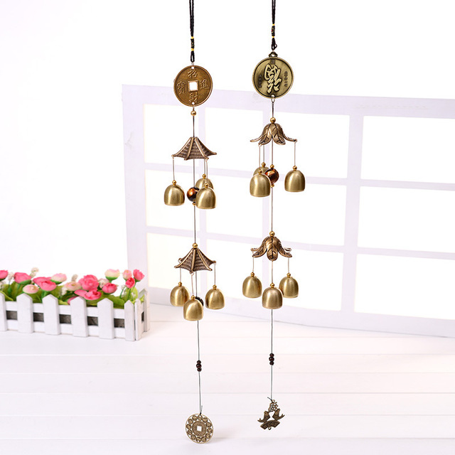 1pc Chinese Retro Metal Bell Wind Chimes Bronze Blessing Lucky Wind