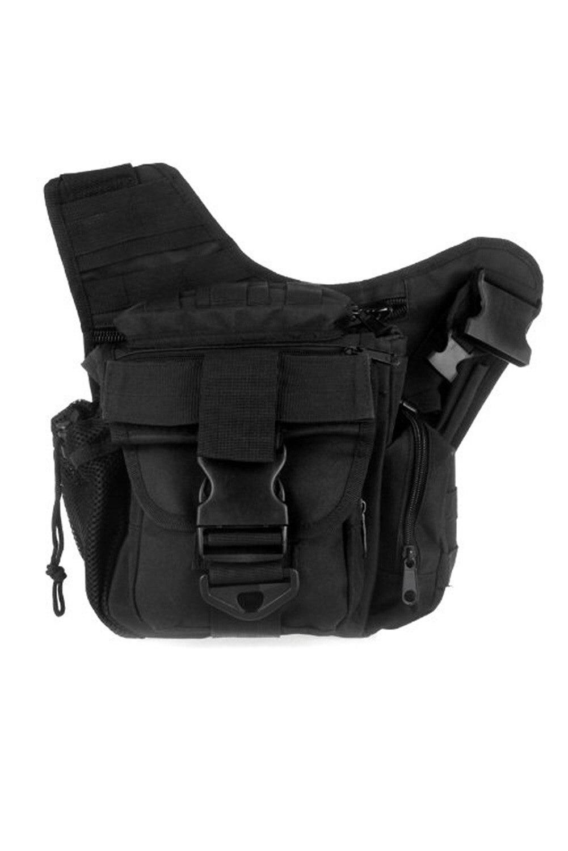 TEXU 600D Nylon Molle Shoulder Strap Bag Military Push Pack Belt Pouch Travel Backpack Camera Money Utility Bag Black