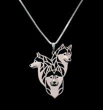 Gold & silver 1pcs Siberian Husky Family Necklace 3D Cut Out Puppy Dog Lover Pendant Memorial Necklaces Pendants Christmas