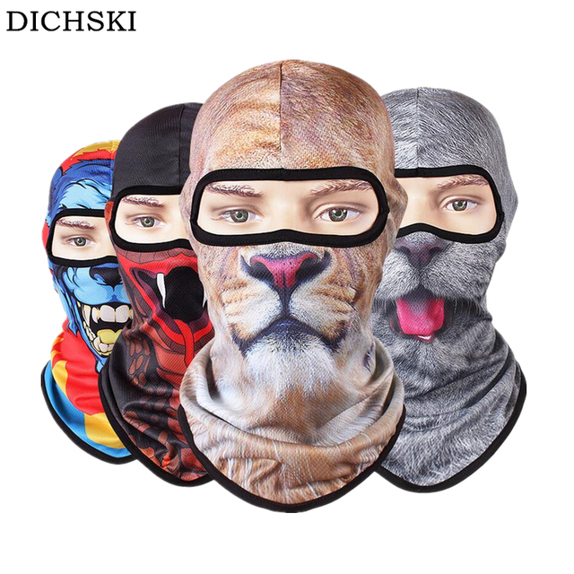 DICHSKI 3D Dog Animal Printed Halloween Horror Ski Mask UV Full Face Mask Cap Outdoor Bicycle Cycling Masks Hat Veil Balaclava