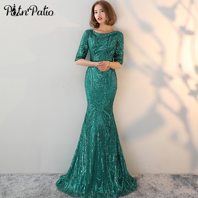 PotN Patio Half Sleeves Green Evening Dresses Long O neck Backless Sequin Mermaid Prom Dresses 2018