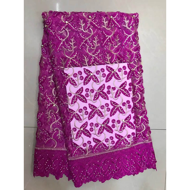 2017 African Cord Lace Facric High Quality French Lace Fabric With Stones Violet African Lace Fabric For Nigerian Wedding Dress