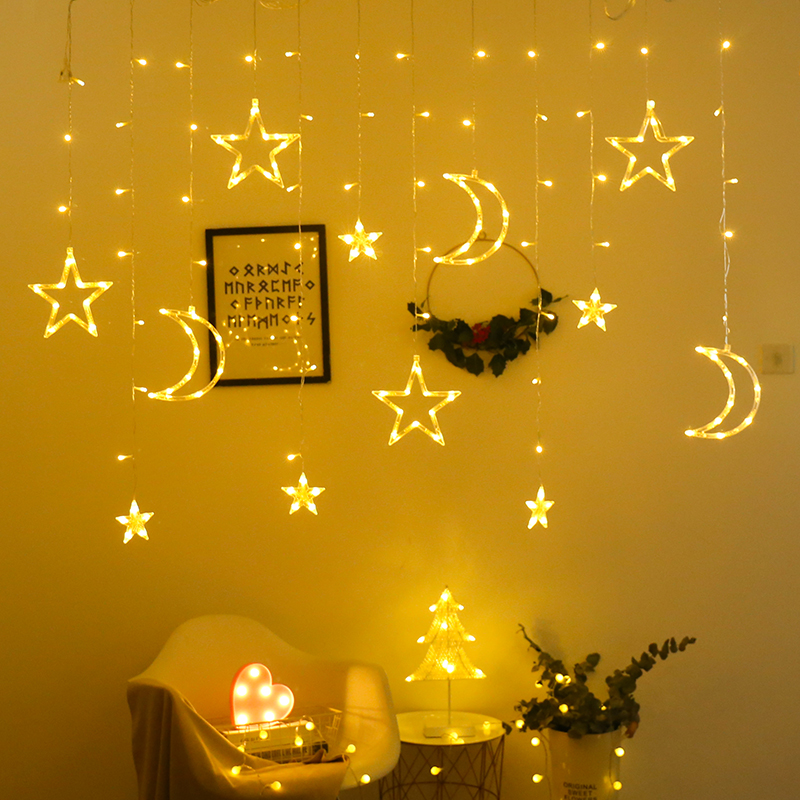 Led Curtain Lights Icicle String Light 96 Leds 3.5M Moon Star Twinkle Christmas Garland Display Party Wedding Window Decoration