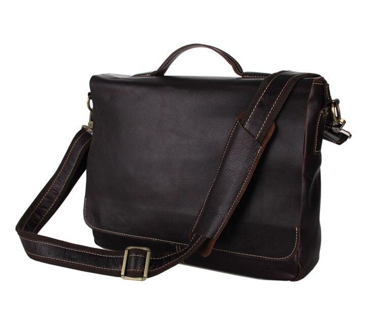 Vintage 100 Genuine cow leather men messenger bags portfolios briefcase business men travel bags 14 laptop