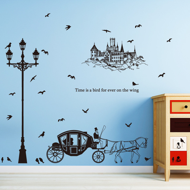 Black Street Lamp Carriage Castle Birds Silhouette Wall Stickers Living Room Decorative Vinyl Diy Removable Decals Mural