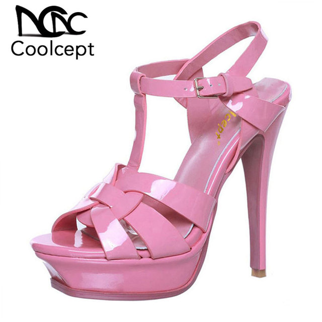 Coolcept free shipping quality genuine leather high heel platform sandals women sexy footwear fashion lady shoes hot sale 33-40