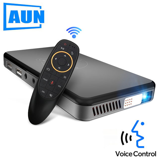 Cheap AUN Voice Control Smart Projector. Android 7.1, WIFI,Bluetooth,HDMI. Support 1080P, PS4 MINI Projector, Home Theater, Beamer X2
