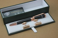High Quality Black And Rose Gold Clip Ballpoint Pen School Office Stationery Supplies Luxury And Cufflinks