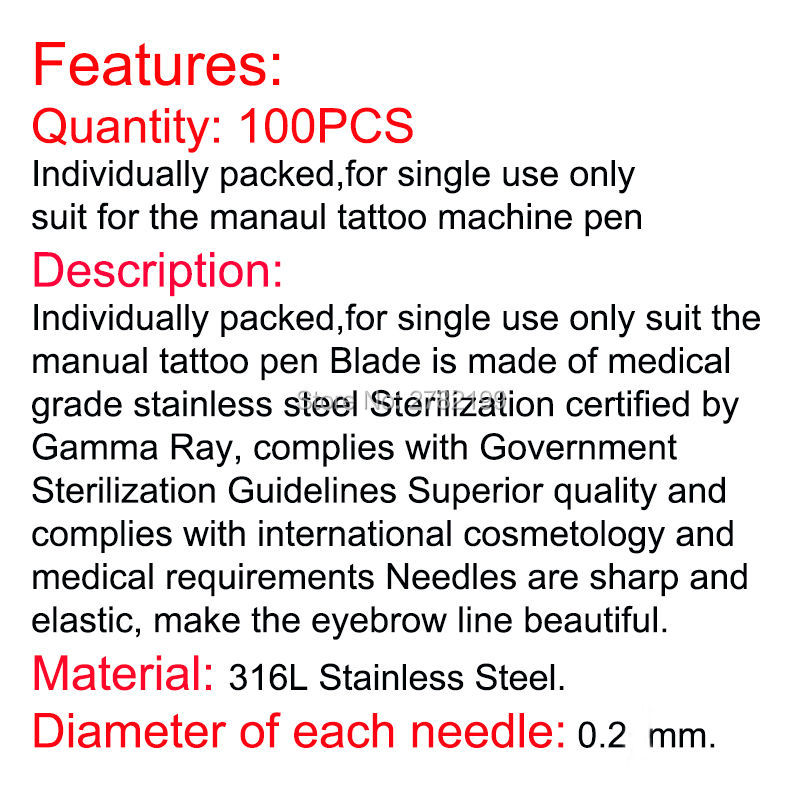 100 Pcs Tattoo Needles 18 Pins U Shape Microblading Lamina U Sobrancelha Tebori 18 Pontas U Blades Eyebrow Permanent Manual Pen 14