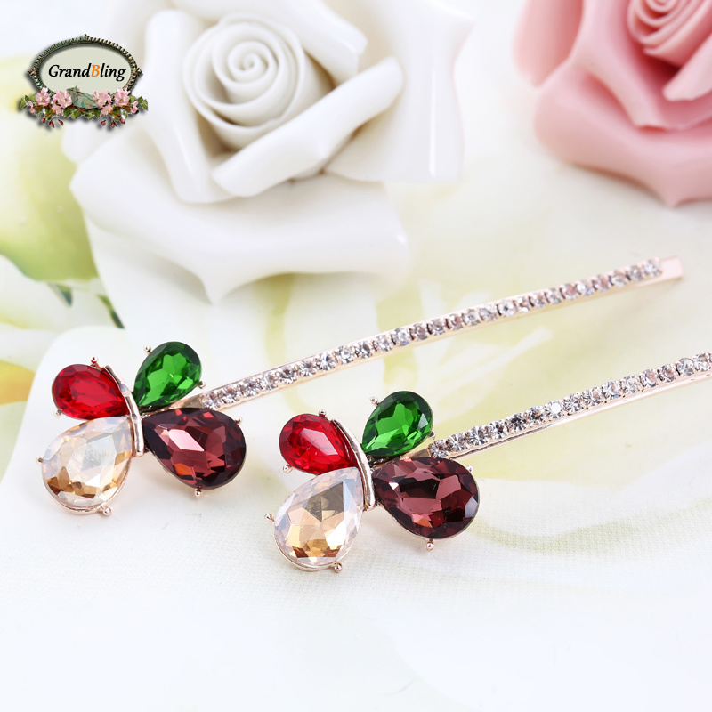 Unique Rhinestone Crystal Floral Butterfly Headwear Hair clip Barrette Hairpin font b Accessories b font Jewelry