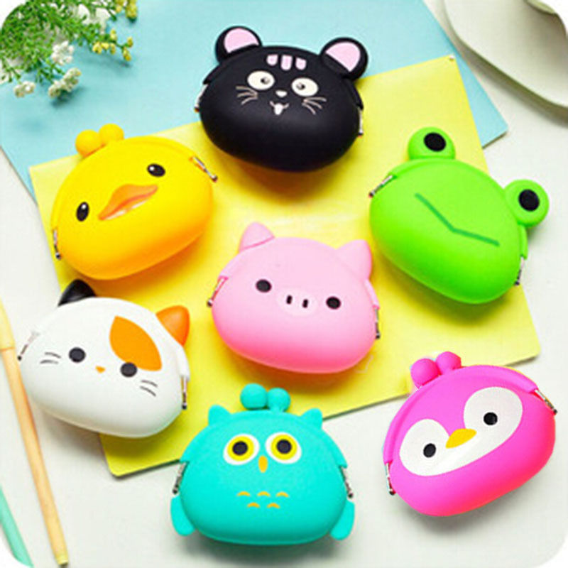 Women's Cartoon Silicone Coin Purse Key Earphone Storage Bags Wallet Container Cute waterproof animal printed women s cute 3d dog nylon corduroy coin purse key earphone storage bags wallet