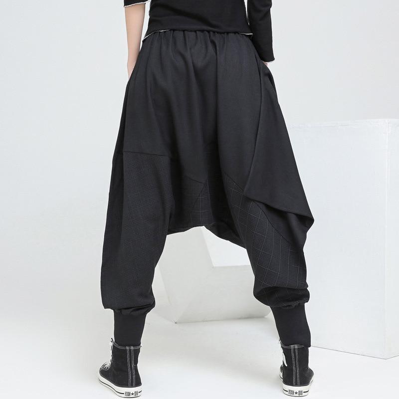 545a030578 Spring Autumn Harajuku Casual Baggy Capri Plaid Bohemian Loose Drop Crotch  Elastic Waist Pantalon Harem Pants for Women Trousers-in Pants & Capris  from ...