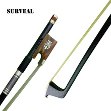 Concerto Level Carbon fiber  violin bow with best Natural Siberia white horse tail and elastic Ox horn parts,size 4/4