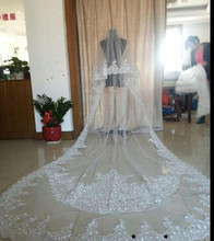 Custom Made 4 Meters One Layer Lace Tulle Long Wedding Veil New White Ivory M Bridal with Comb  Veils