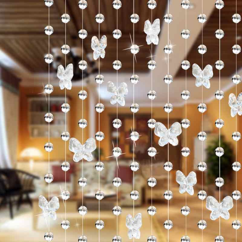 Modern Romantic Butterfly Beading Curtain Door Window Curtain Home Room Decorations Length 1m