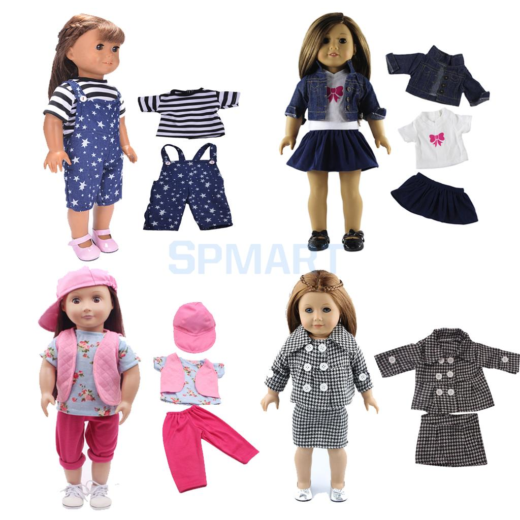 11pcs 4 Suit Clothes for 18inch American Girl Our Generation My Life Dolls Shoulder Strap Pants Jeans Jacket Skirt T-shirt Hat 1 lcd wired timer remote switch shutter release for panasonic fz10 15 20 leica more 1 x cr2032