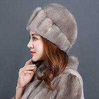 2018 Новинки для женщин натуральный мех норки меховая шапка Термальность зимой на улице теплый ветрозащитный женский сплошной Skullies & шапочки