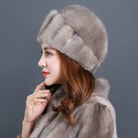 2018 Women New Real Mink Hair Fur Hat Thermal Winter Outdoors Warm Windproof Female Solid Skullies & Beanies Adult Caps Casual