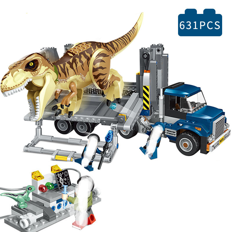 Jurassic 2 World Park T. Rex Transport Building Blocks Kit Bricks Sets Classic Movie Model Kids Toy Gift Compatible with Legoing gonlei 10566 series volkswagen beetle model sets building kit blocks bricks toy compatible with