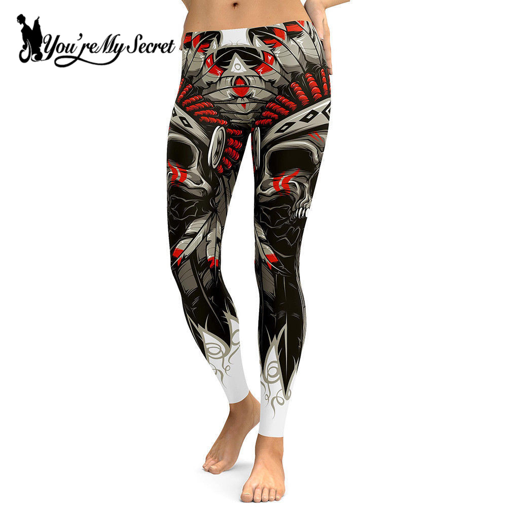 [Youre My Secret] New Arrival Skull Chief Leggings Women Crown Feather 3D Printed Legging High Waist Slim Pants