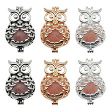 10pcs Trendy Owl Oyster Pearl Cage Locket  Pendants Animal Aromatherapy Essential Oil Diffuser Necklace For DIY Jewelry