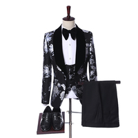 Latest Coat Pant Designs 2019 Custom Made Velvet Lapel Tuxedo Men Groom Suit Man Wedding Best Man Blazer (Jacket+Pants+Vest+Bow)