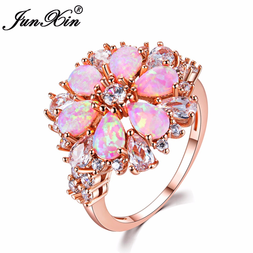 JUNXIN Fashion Women Pink Fire Opal Rings Rose Gold Filled Jewelry ...