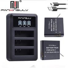 2x AZ16 1 Battery AZ16-1 + LEDUSB3slots Charger 2battery box For Xiaomi Yi 2 4K 4K+ Yi360 VR Xiao Mi Lite Action Cameras
