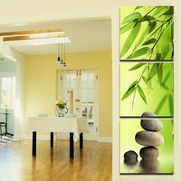 Free Shipping 3 Pcs Set Bamboo And Stone Modern Canvas Wall Paintings Canvas Prints Vertical Forms