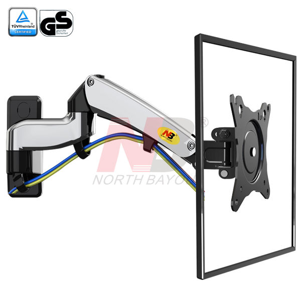 "NB F300 Gas Spring 360 Degree 30-40"" TV Wall Mount LCD Monitor Holder Aluminum Mirror Polish Arm"