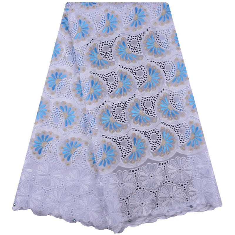 African Dry Lace Fabrics High Quality Cotton Dry Lace Fabric Swiss Voile With Stones Swiss Voile