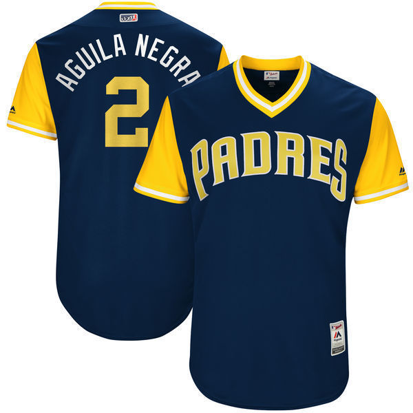 MLB Mens San Diego Padres Jose Pirela Aguila Negra Baseball Navy 2017 Players Weekend Authentic Jersey
