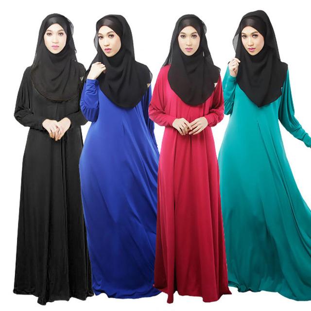 Mujeres sólido vestido de los musulmanes ropa islámica abaya jilbab Abaya turca musulmana de vestidos longos hijab ropa dubai caftán negro
