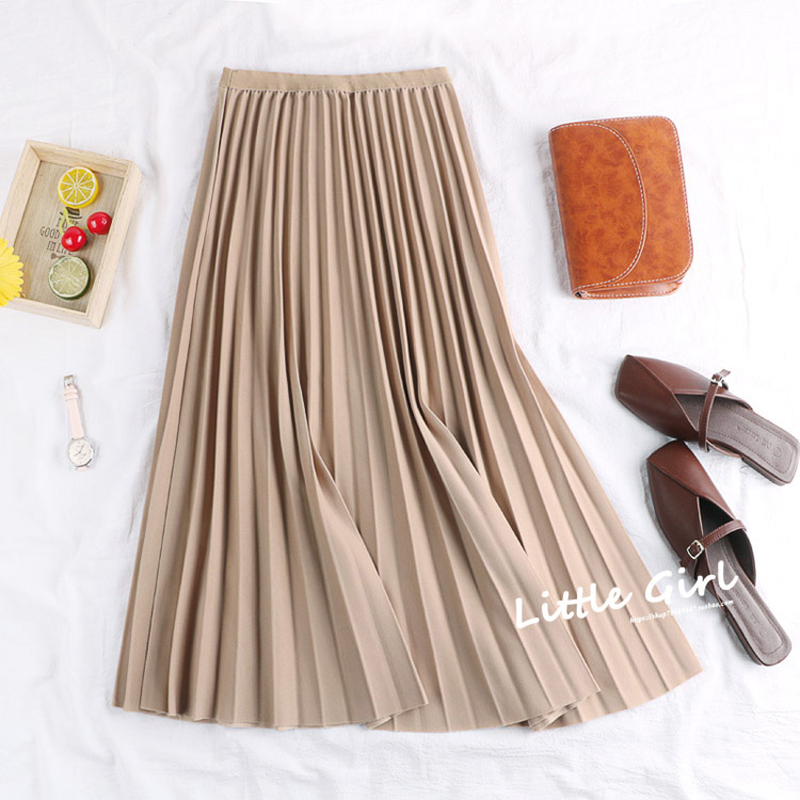 2019 New Spring Autumn Solid Color Large Pendulum Long Pleated Skirt Korean A Line Elastic Waist tutu Skirt Women Maxi Skirts in Skirts from Women 39 s Clothing