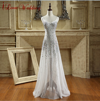 New Arrival Long Prom Dresses 2015 V Neck Sheer Tulle Beaded Rhinestones Sexy Evening Dress A