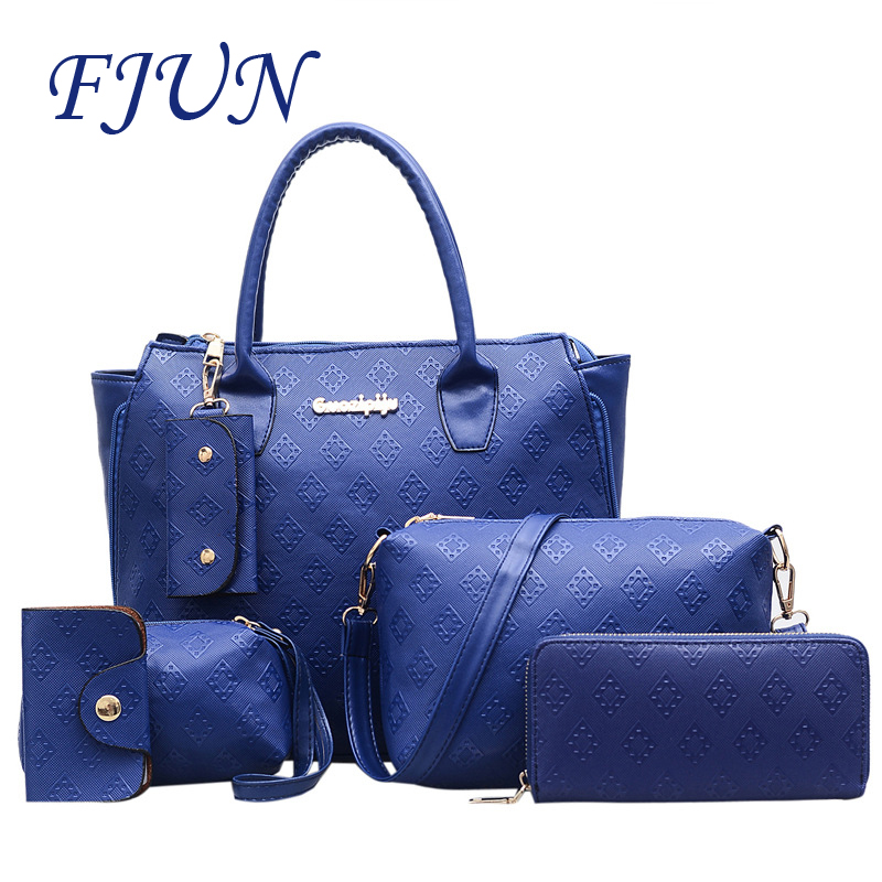 FJUN 2018 Luxury Genuine Leather Lady Handbags 6 Pcs set Composite Bags Women Shoulder Crossbody Bags