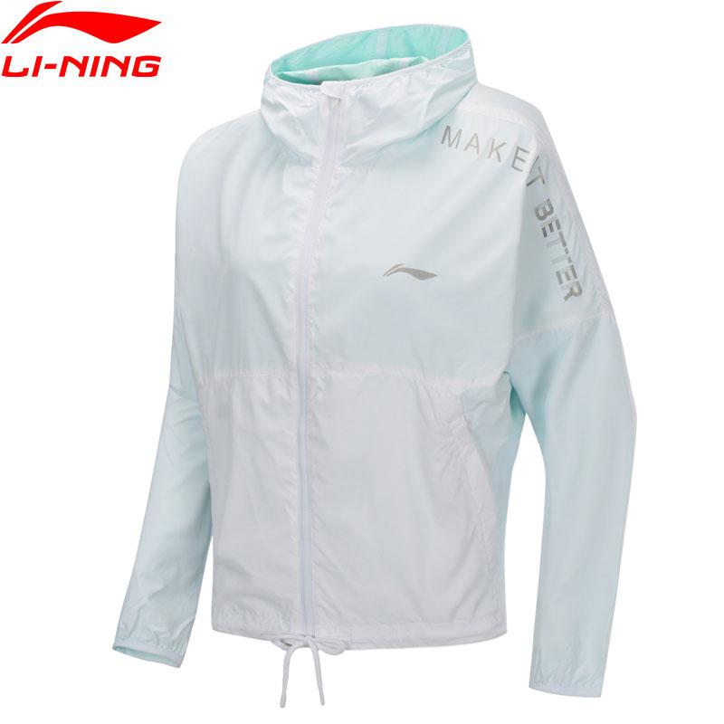 Li-Ning Women Training Windbreaker Loose Fit 100% Polyester Reversible Jackets LiNing Li Ning Hooded Sport Coats AFDP218 WWF927