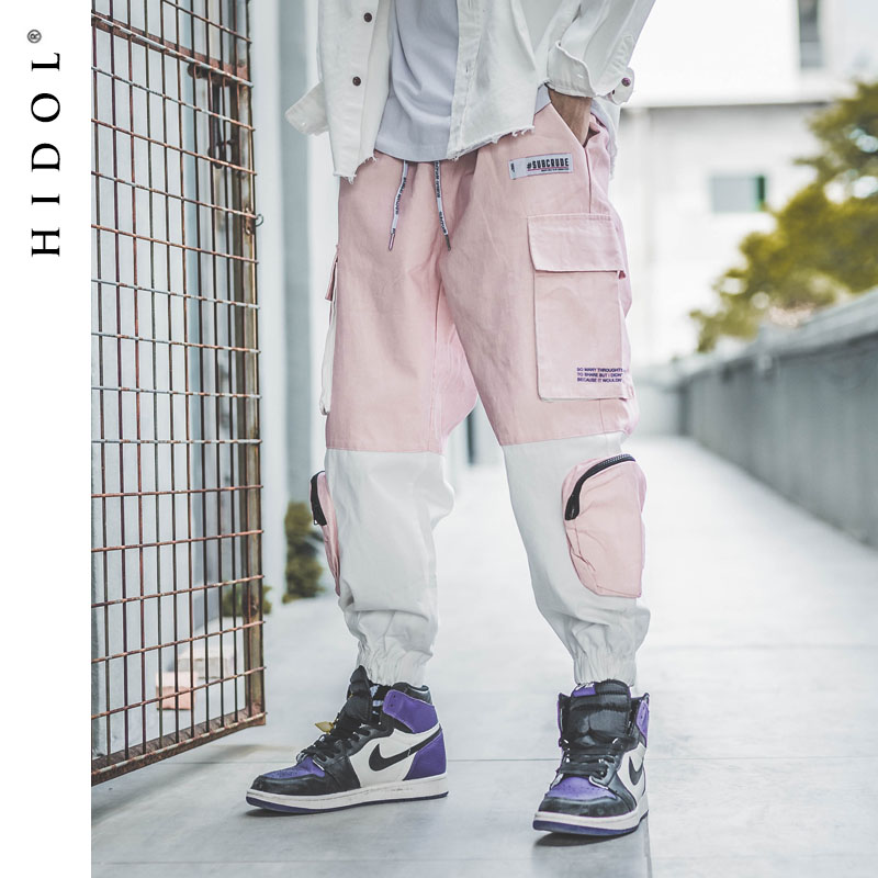 Military Splice Cargo Pants Contrast color Multi Pocket Joggers Army Track Tactical Trousers Men Hip Hop Swag Streetwear Pink-in Cargo Pants from Men's Clothing    1