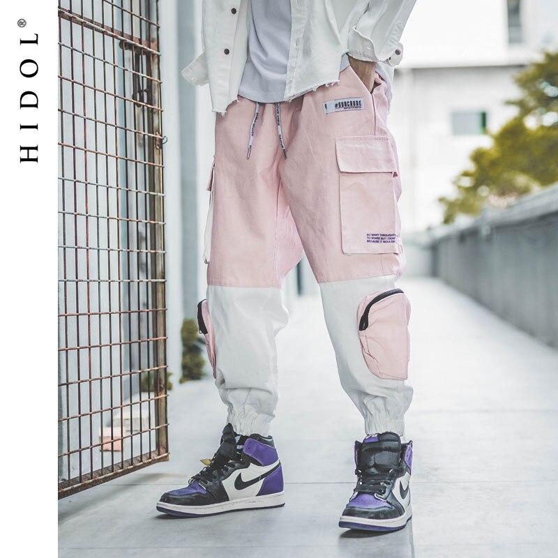 Pantalon Cargo épissure militaire couleur contrastée multi poches joggeurs armée piste pantalon tactique hommes Hip Hop Swag Streetwear rose-in Pantalon cargo from Vêtements homme on AliExpress - 11.11_Double 11_Singles' Day 1