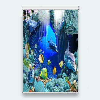 3d Roller Blinds Underwater world dolphin Window Living room Bedroom Hotel Photo Roller Blinds On The Windows