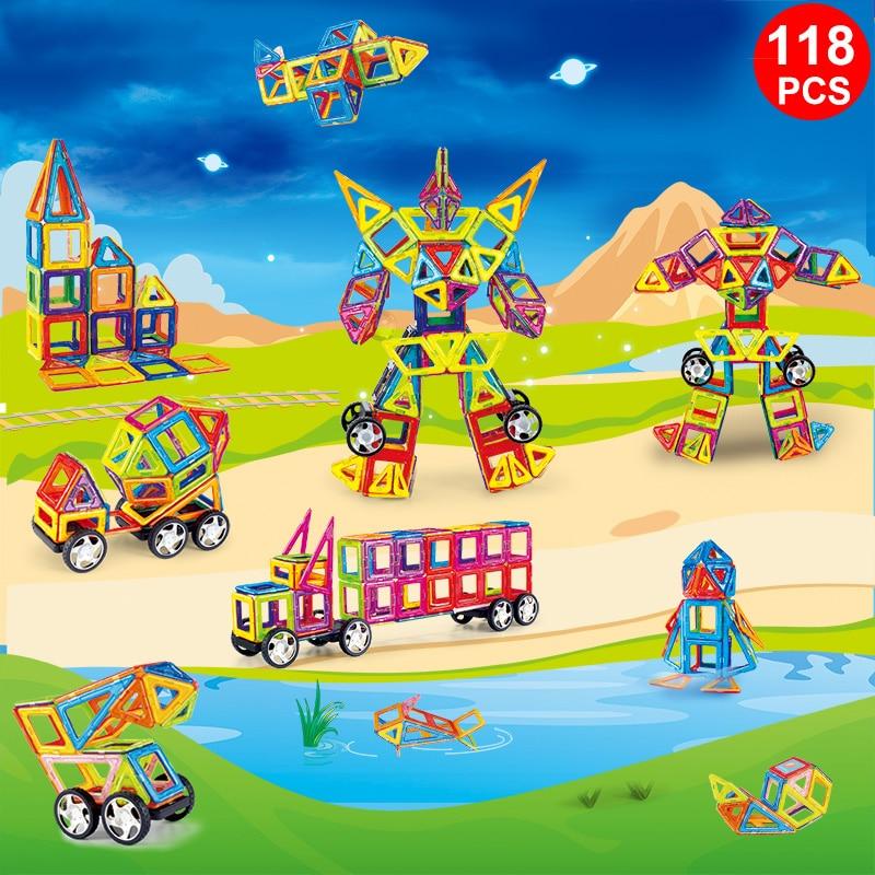 118PCS Standard Size Magnetic Blocks 3D Model Building Bricks Children Educational Toys Engineering vehicle Big Size Block