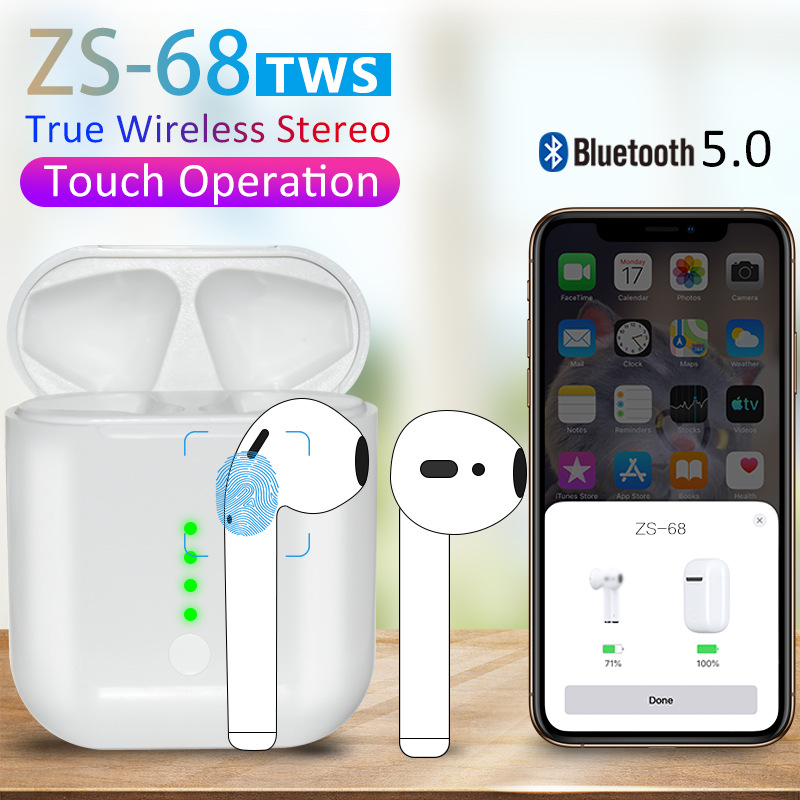 ZS-68 <font><b>Tws</b></font> Bluetooth Earphone Pop up 1:1 <font><b>Super</b></font> Bass Earbuds QI Wireless Charging Headset PK i10 w1 chip <font><b>i30</b></font> i60 i80 i100 i200 <font><b>tws</b></font> image
