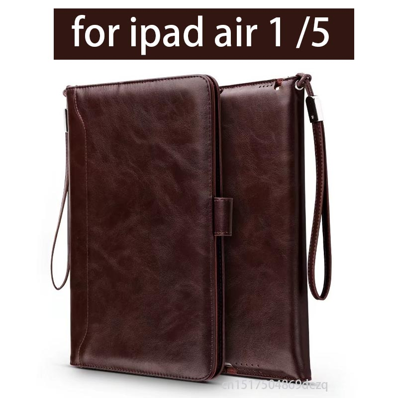 Luxury Wallet Stand Leather Case for iPad Air 1 iPad 5 Flip Magnetic Smart Cover with Card Bags Hand Strap Holder luxury leather case for samsung galaxy note 5 magnet flip cover card holder wallet purse