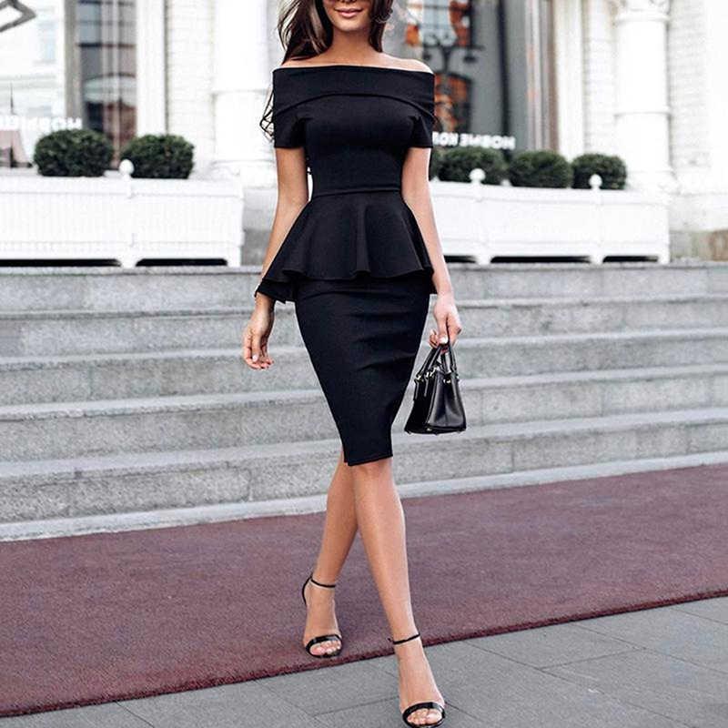 3177f94fbb441 2018 Women Summer New Slash Neck Off Shoulder Ruffle Office Lady Elegant  Slim Fit Party Dress Fold Over Peplum Slinky Midi Dress