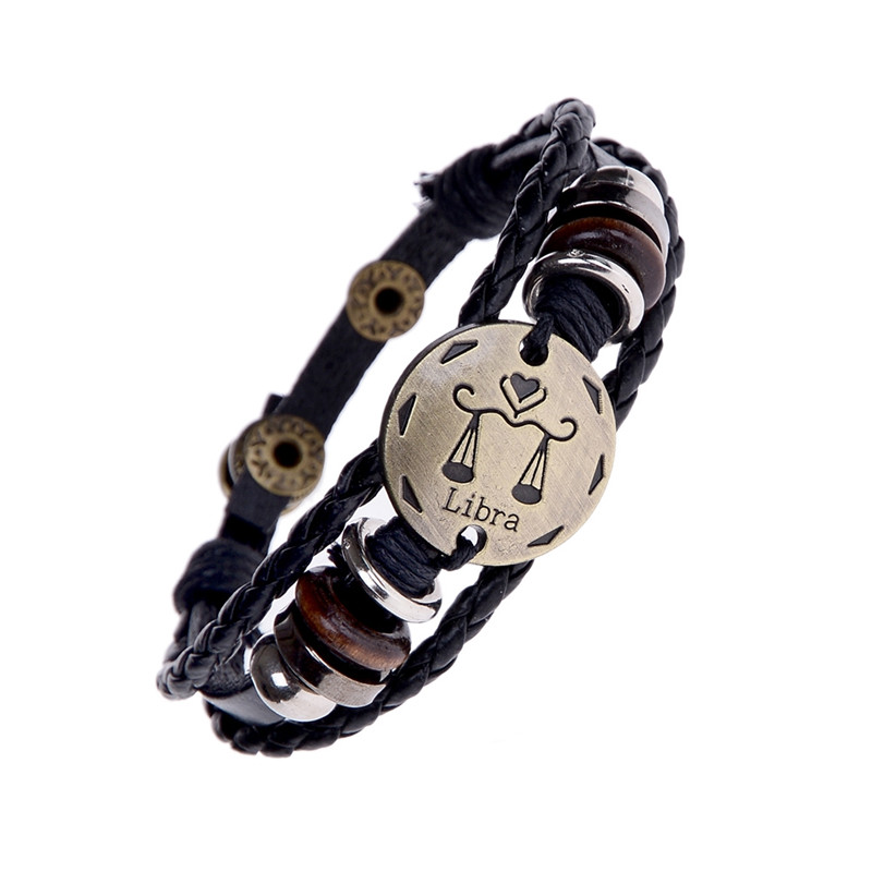 Braided 12 Constellation Bracelets Aquarius Aries Zodiac Signs Cancer Black Leather Woven Charm Men Bracelet Bangles for Women