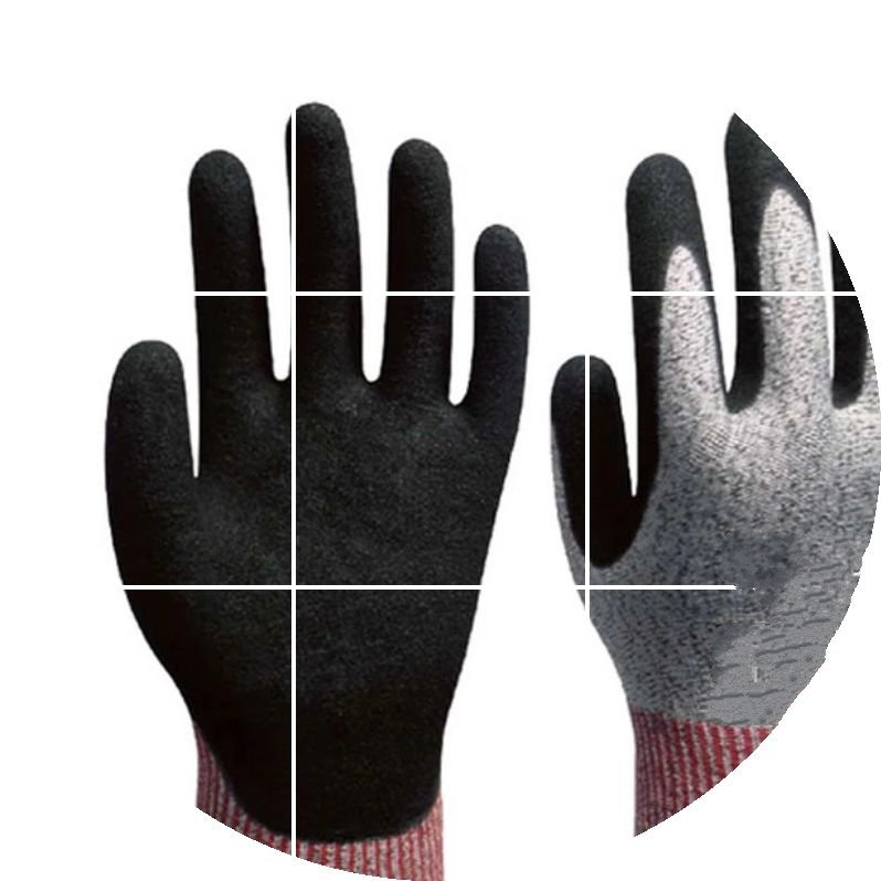 Level 5 cut resistant gloves stab comfortable flexible nitrile dipped wear oil oil free comfortable cheap nitrile gloves white nylon knitted hands protection gloves white mechanic construction industry