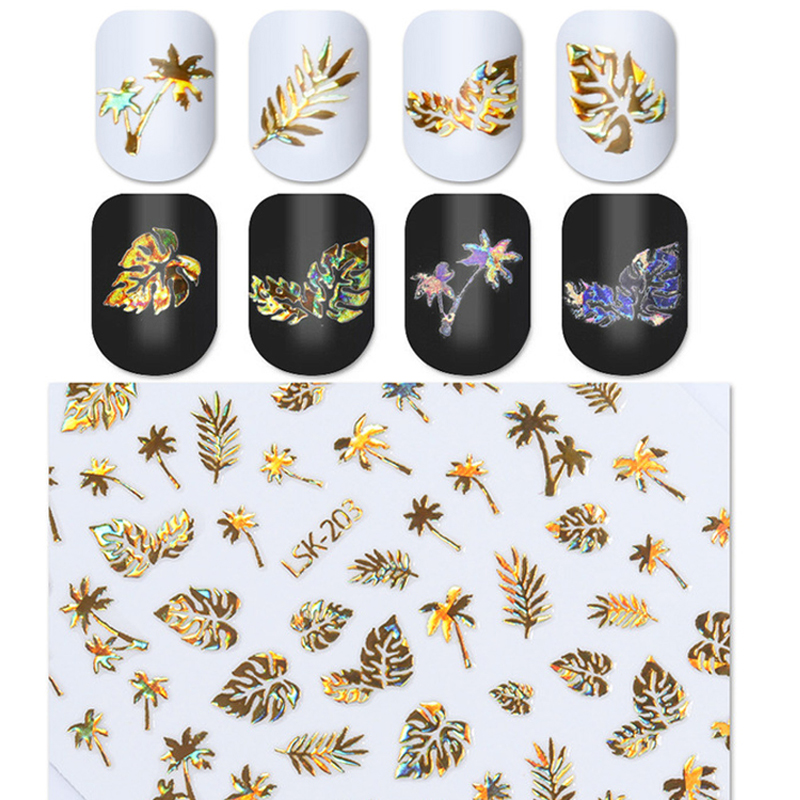 New 1 Sheet Holographic Gold 3D Nail Sticker Coconut Tree Leaf Holo Laser Adhesive Decal Sticker Manicure Nail Art Decoration-in Stickers & Decals from Beauty & Health