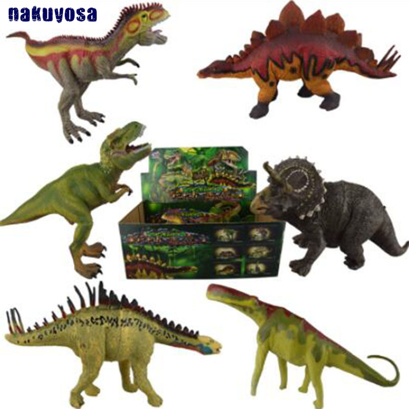 6 pcs set Jurassic World Solid Simulation Dinosaur Model Toys Tyrannosaurus Stegosaurus Triceratops Kids Gifts a toy a dream latex mask toy tyrannosaurus rex triceratops mask cosplay carnival dinosaur mask halloween toys props model toys